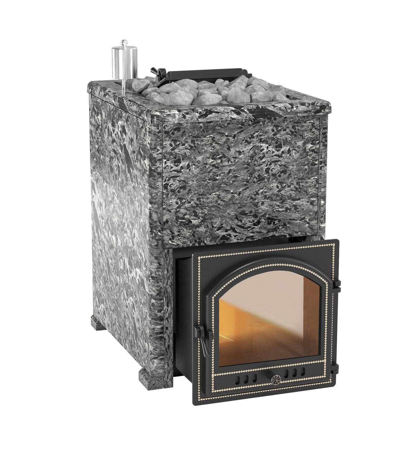 Банная печь Эверест INOX 20 (205) в облицовке пироксенит элит