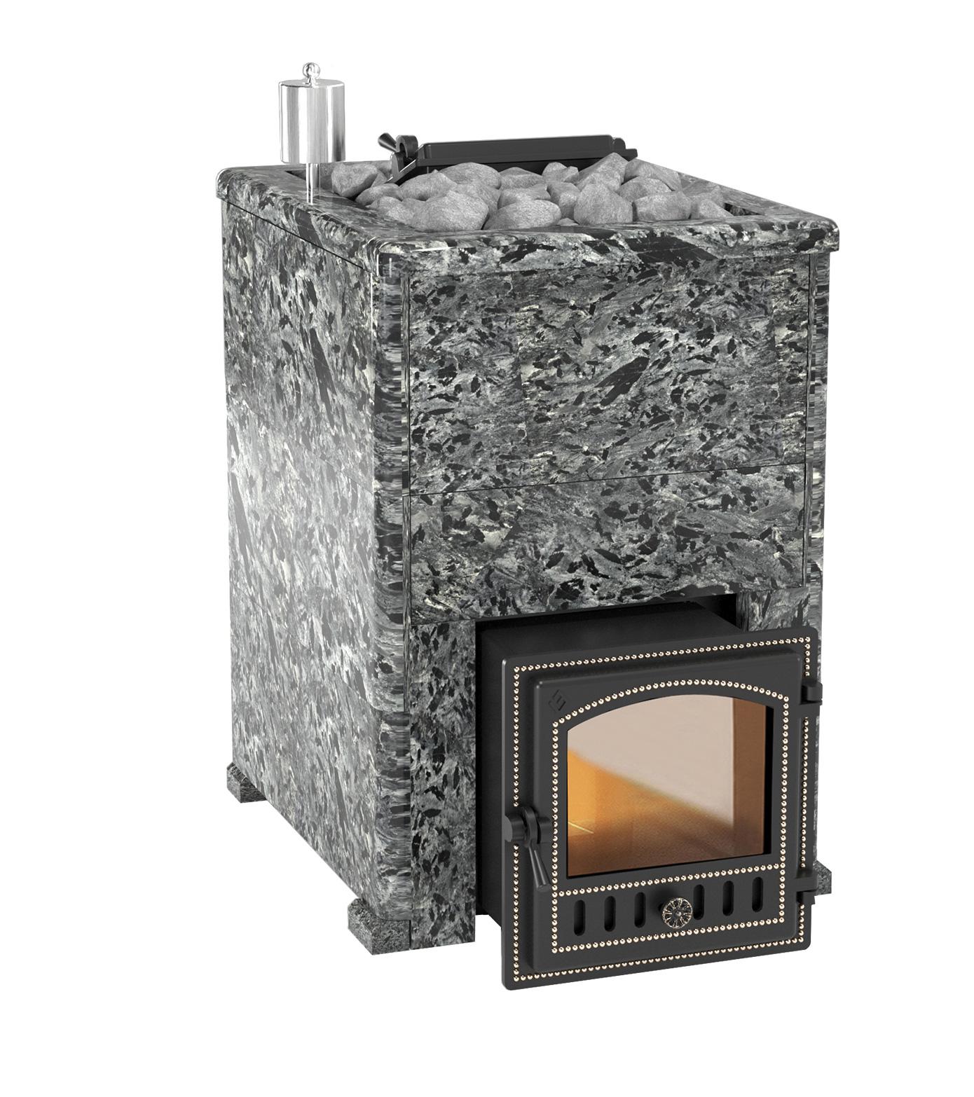 Банная печь Эверест INOX 20 (280) в облицовке пироксенит элит